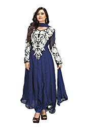 Priyanshu Creation Women's Georgette Blue Dress Material