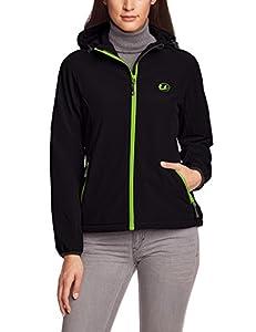 Ultrasport Damen Softshell Jacke mit Kapuze Estelle, schwarz/grün, XS, 10048