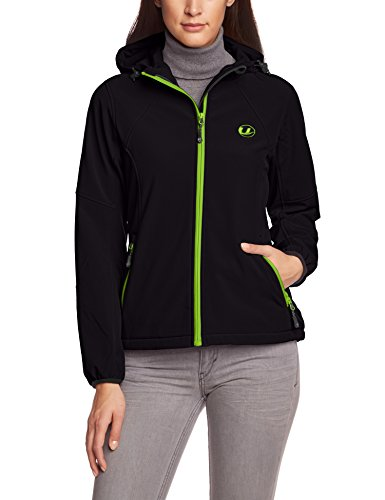 Ultrasport Estelle - Chaqueta con capucha para mujer, color negro/verde (schwarz/grün), talla...
