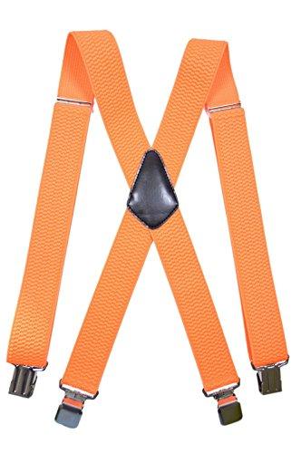 Bretelle regolabili, Abbigliamento da Lavoro, Extra Forte 4 Clip X-Forma, 4cm larghezza - Arancione