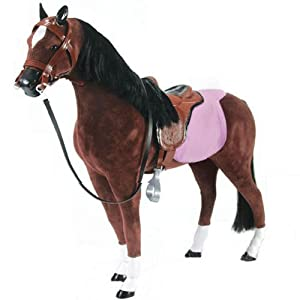 "Doll Horse 19"" Fabric Horse & Saddle, Doll Furniture Fits 18"" Dolls Like American Girl from Sophia's"