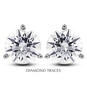 4.03 Carat Round Natural Diamond AGI Certified E-SI3 Very Good Cut 14k White Gold 3-Prong Setting Classic Style Studs Earrings