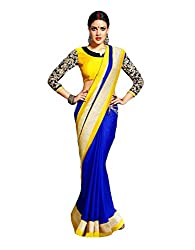 Arth Fashion Women's Georgette Embroidered Saree With Blouse Piece (BLUEYELLOW_Blue_FreeSize)