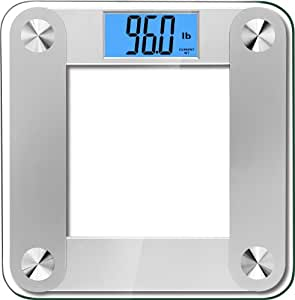 BalanceFrom High Accuracy Plus Digital Bathroom Scale with 3.6 Inch Large Dual Color Backlight Display and Smart Step-On Technology, Silver