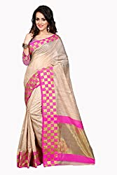 Fabcart Beige And Pink Poly Cotton Saree with Blouse Piece