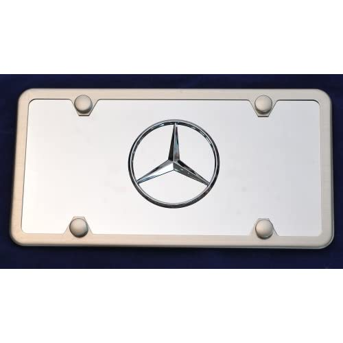 Mercedes benz logo on stainless steel license plate for Mercedes benz license plate logo
