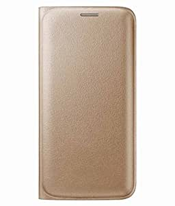 Avzax Premium Leather Flip Wallet Case Cover for Lyf Flame 1 (Gold)