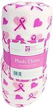 Breast Cancer Fleece Plush Throw Blanket 50quot x 60quot White