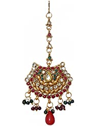 DollsofIndia Polki Jhoomar / Mang Tika - Stone And Metal - Length 5 Inches - Red