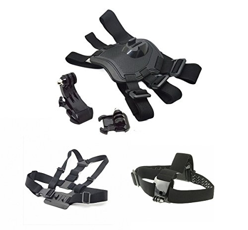 LCtech TM 5-in-1 Accessories Set Combo Package Bundle Including Pet Dog Harness Chest Fetch Strap, Head Strap with 3 Rows of Enhancing Silicone Gel Insider the Strap, Chesty Strap Harness, Vertical Surface J Hook Buckle Mount, Horizontal Surface Quick Release Buckle For GoPro Hero 4/3+/3/2/1 Camera Mount Replacement Brand New and High Quality with FREE Shipping
