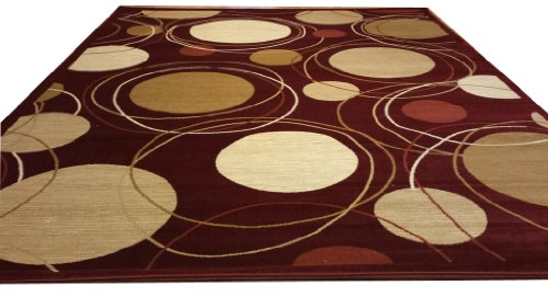 D606 Contemporary Modern Dot Circular Pattern Red 5x8 Actual Size 5'3x7'2 Rug