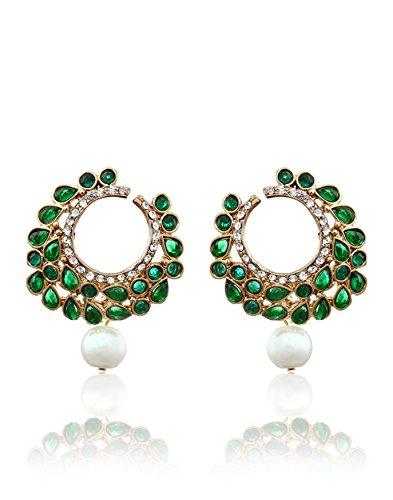 Zaveri Pearls Pearl Dangle & Drop Earring For Women Green – Zpfk836