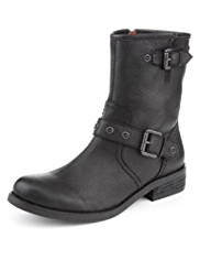 Indigo Collection Leather Twin Buckle Biker Boots with Insolia Flex®