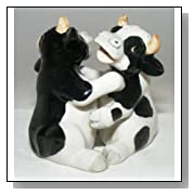 SALT and PEPPER Shaker HOLSTEIN Black and White COWS MINIATURE New Porcelain KLIMA L777