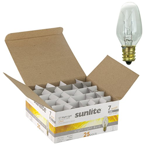 Sunlite 7C7/CL/25PK Incandescent 7-Watt, Candelabra Based, C7 Night Light Bulb, Clear, 25 Pack