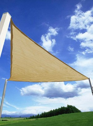 16.5 ft Beige Triangle Sun Sail Shade Canopy