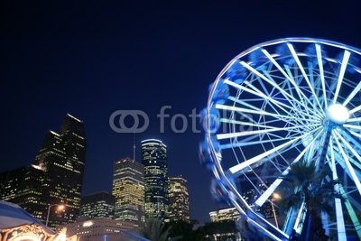 """Wallmonkeys Peel and Stick Wall Decals - Ferris Wheel at the Fair Night Lights in Houston - 24""""W x 16""""H Removable Graphic"""