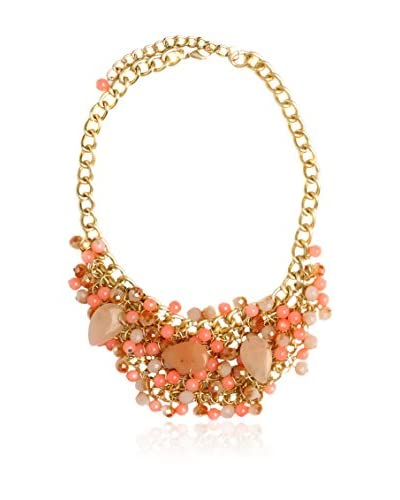 Alibey Collar de cadena estilo babero con multiples resinas y piedras en tono coral Coral