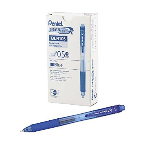 Pentel Needle Fine Tip - Paquete de 12 bolígrafos de tinta gel con trazo fino, azul