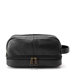 Fossil Men's Leather Cosmetic Bag - Black