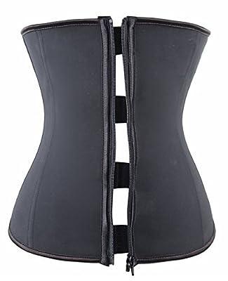 YIANNA Women's Hourglass Zipper and Hook Waist Cincher Training Corset