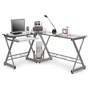 SixBros. Office  Scrivania porta pc vetro/argento  CT3802/45  vetro chiaro  struttura metallo argento   recensioni dei clienti Valutazione