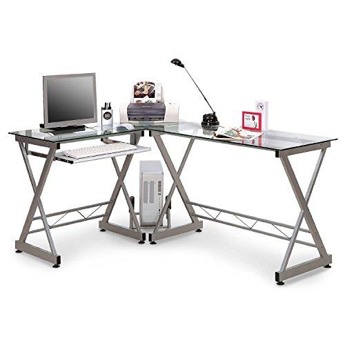 SixBros. Office - Scrivania porta pc vetro/argento - CT-3802/45 - vetro chiaro - struttura metallo argento