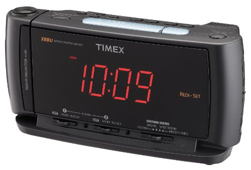 Timex T740BC Redi-Set Dual Alarm Clock Radio with Time Projector, Flashlight, Soothing Sounds, and Battery Back-Up (Black)