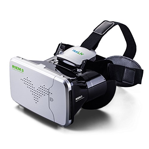 Hueliv Riem III VR Glasses, Google Cardboard Virtual Reality Headset for 3.5-6'' Smartphones for 3D Movies and Games, Silver (VR Glasses)