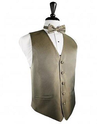 Tuxedo Vest And Bow Tie - Herringbone Collection (Large (43-46), Champagne)
