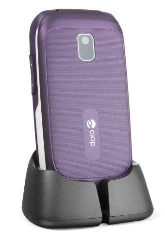 Doro PhoneEasy 612 GSM Mobiltelefon Klapphandy (2 Megapixel Kamera, großen Tasten und Display) aubergine