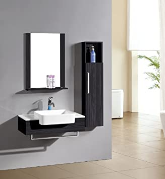 SixBros London M-70116/230 Bathroom Furniture Set Mirror / Cupboard / Washbasin Wenge Colour