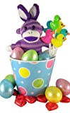 Purple Bunny Ears Sock Monkey Plush Toy in Easter Basket with Eggs and Assorted Candy