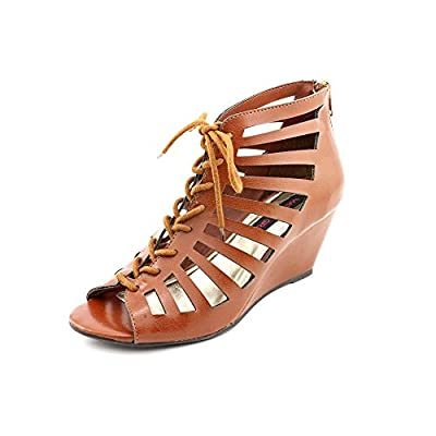 Material Girl Harley Womens Faux Leather Wedge Sandals Shoes from Material Girl
