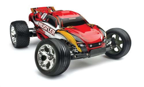 Traxxas RTR 1/10 Rustler with Water Proof XL-5 RTR and 7 Cell Battery with Charger, Red (Traxas Tires compare prices)