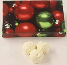 Scott\'s Cakes White Chocolate Covered - Chocolate Raspberry Fudge Truffles in a 1 Pound Ornament Box