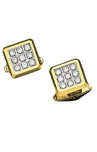 14K Yellow Gold Exquisite Square Cufflinks With 1.26 ct. Diamonds-88559