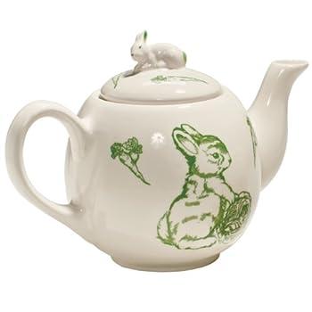 Green Bunny Toile Teapot