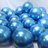 BALONAR 3.2g 12Inch100pcs Metallic Chrome Balloon in Blue for Wedding Birthday Party Decoration (Bule) (Color: Bule)