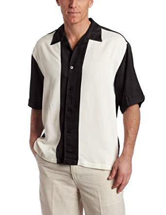 Cubavera Men's Short Sleeve Pieced Bedford Cord Camp Shirt, Black/Ivory, Small