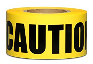 Honey-Can-Do TAP-01547 Barricade Tape, Caution, 1000-Feet Long, 3-Inches Wide, Yellow