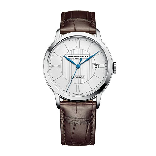 Baume-Mercier-Mens-Swiss-Automatic-Stainless-Steel-and-Leather-Casual-Watch-ColorBrown-Model-MOA10214