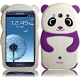 3D Bear Panda Soft Silicon Back Jelly Skin Cover Case for Samsung Galaxy S 3 S3 III i9300 i747 T999 L710 i535 White Purple