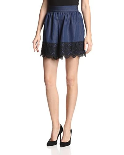 Anna Sui Women's Chambray Lace Skirt