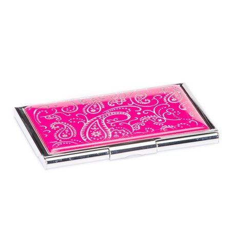 Pink Paisley Business Card Case