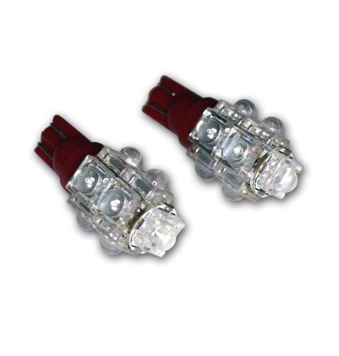 Tuningpros Ledtl-T10-R9 Tail Light Led Light Bulbs T10 Wedge, 9 Flux Led Red 2-Pc Set