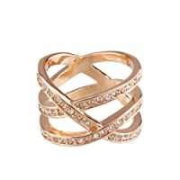 FM42 Triple Row Clear Crystal Crossover Cocktail Wide Ring R123 from FM42