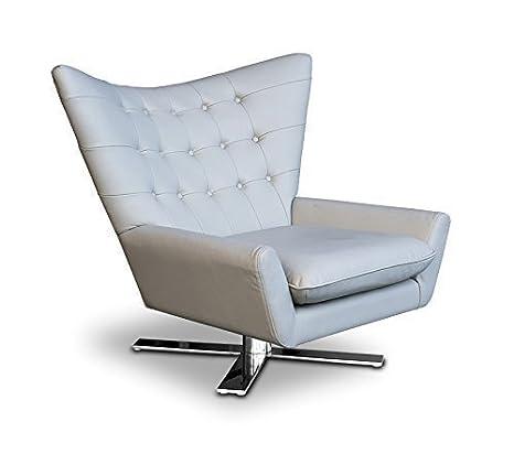Allungabile Forma-V Vera Pelle Ala sedia Poltrona radiocomandata Poltrona con braccioli Lounge poltrona. Riproduzione in (Vero) pelle Grigio chiaro