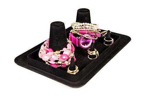 Bangle Stacker Velvet Acrylic Jewelry Organizer & Holder Tray - Black (Bangle Display Case compare prices)