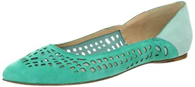 Belle by Sigerson Morrison Women's Vada2 Flat,Green Suede,7 M US